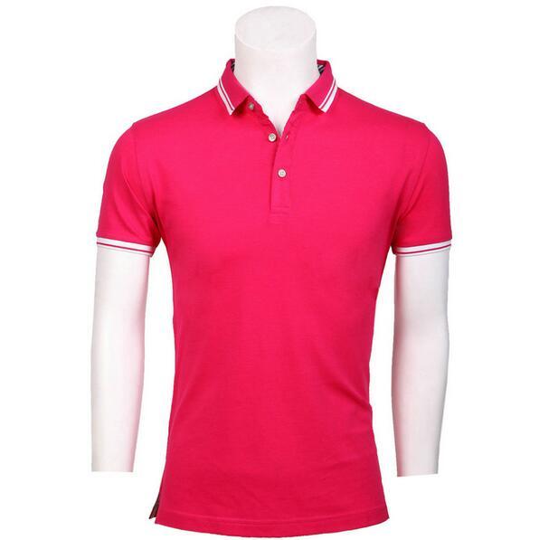 玫红色翻领POLO衫,定制玫红色polo衫,订做玫红色