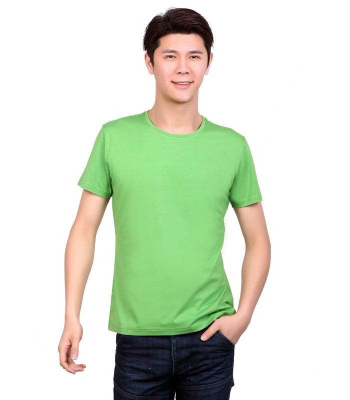 绿色圆领文化衫,绿色t恤衫订制,定做绿色文化衫