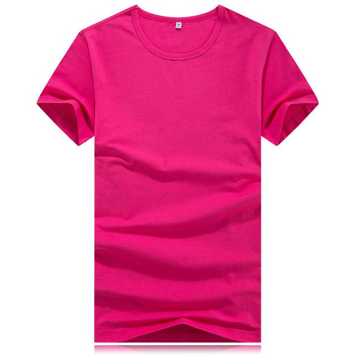玫红色圆领T恤,定做玫红色t恤,订制玫红色圆领t恤,